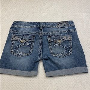 Silver distressed jeans shorts